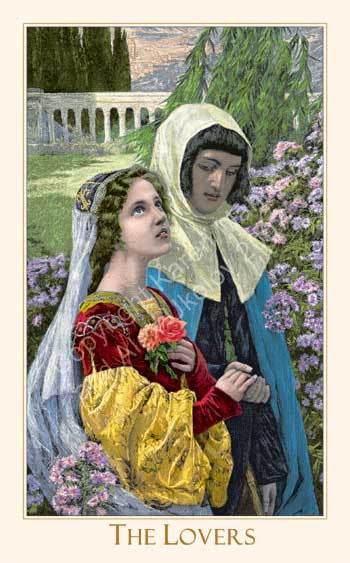The Lovers. The Victorian Romantic Tarot card deck with metallic overlay