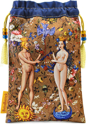Limited Edition tarot bag with vintage kimono pure silk. The Alchemical Wedding print - handmade tarot pouch by Baba Studio.