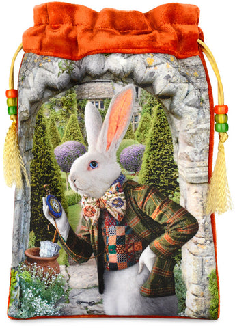 The White Rabbit — orange silk velvet tarot bag