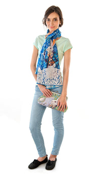 Alice in Wonderland scarves / wraps, printed viscose scarf, White Rabbit design in dark blue