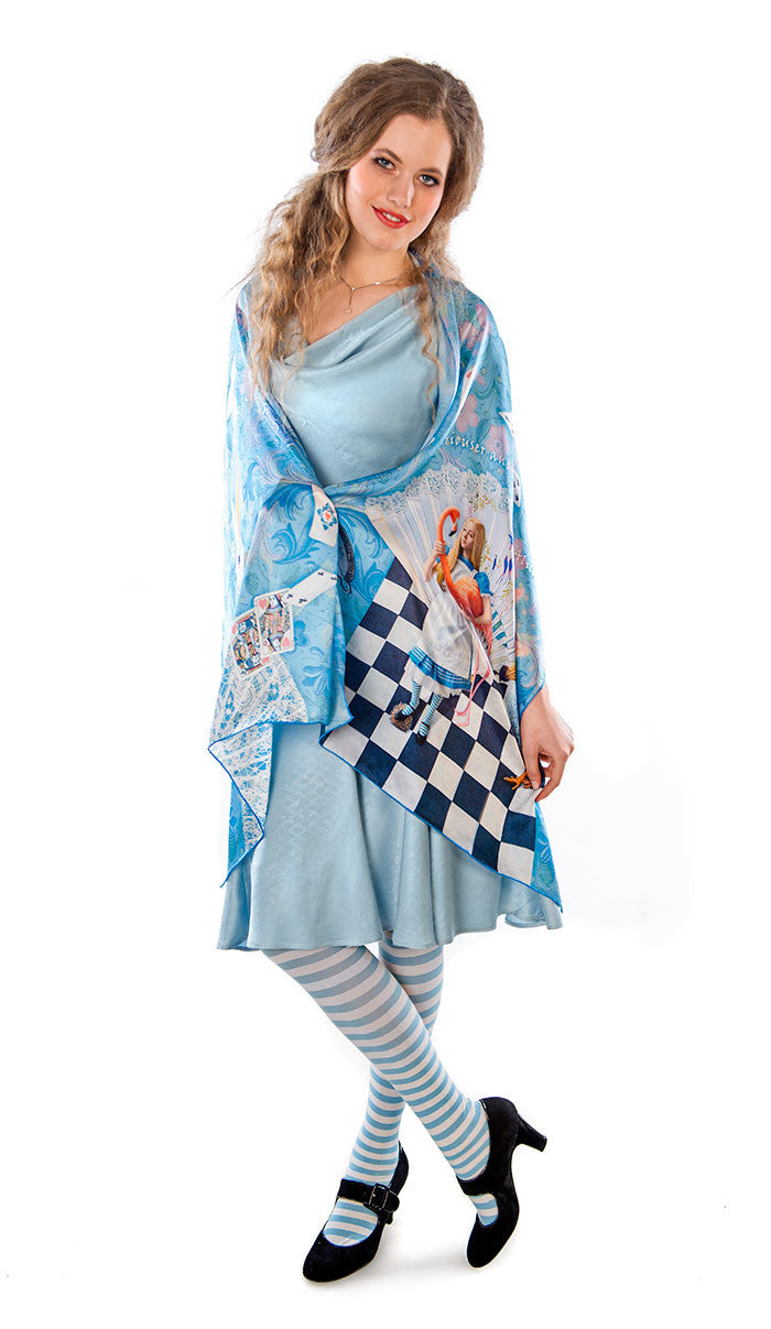 The White Rabbit, sky blue version, pure silk-satin scarf/wrap. - Baba Store - 3