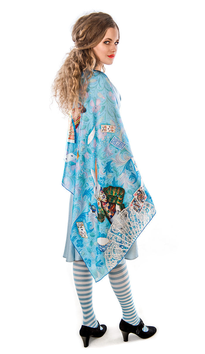 The White Rabbit, sky blue version, pure silk-satin scarf/wrap. - Baba Store - 1