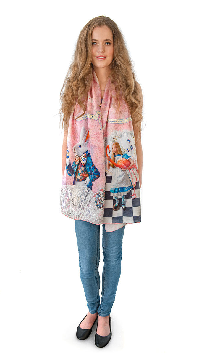The White Rabbit, pink version, pure silk-satin scarf/wrap. - Baba Store - 3