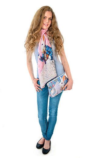 Alice in Wonderland scarf, pink viscose wrap, The White Rabbit print