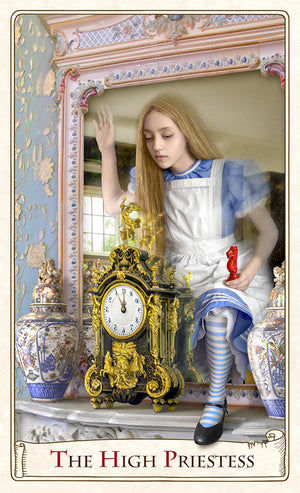Alice Through the Looking Glass, baba studio, The Alice Tarot, High Priestess, Alice in Wonderland tarot, tarot cards