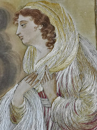 Large Georgian silk-work embroidery. Mary and Archangel Gabriel.
