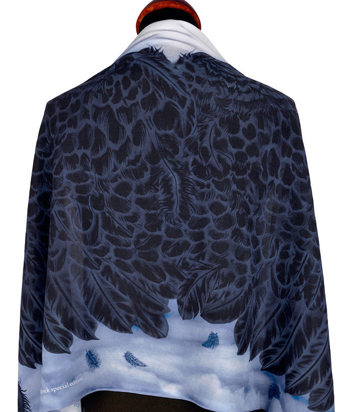 Angel wing print scarf, Gothic style scarves by Baba Studio