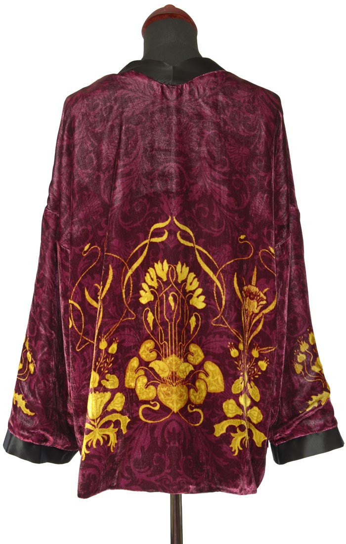 Art Nouveau gilded flowers. BURGUNDY version, silk velvet jacket - Baba Store - 2