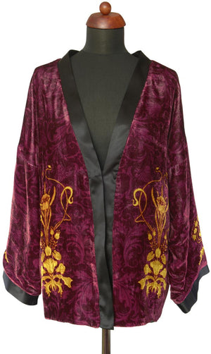 Art Nouveau gilded flowers. BURGUNDY version, silk velvet jacket - Baba Store - 1