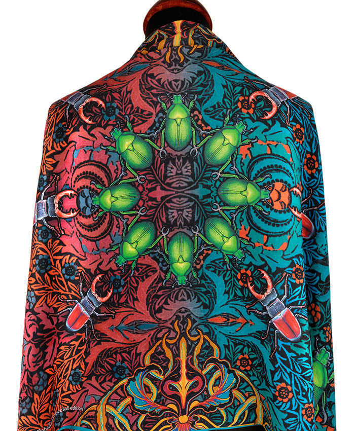 Printed viscose scarf - Art Nouveau style wrap with beetle print by Baba Studio