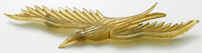 pin, brooch, bonte, georges pierre, antique jewelry, carved horn, bird brooch