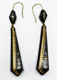 Large Victorian pique earrings. Gold and silver on antique tortoiseshell.