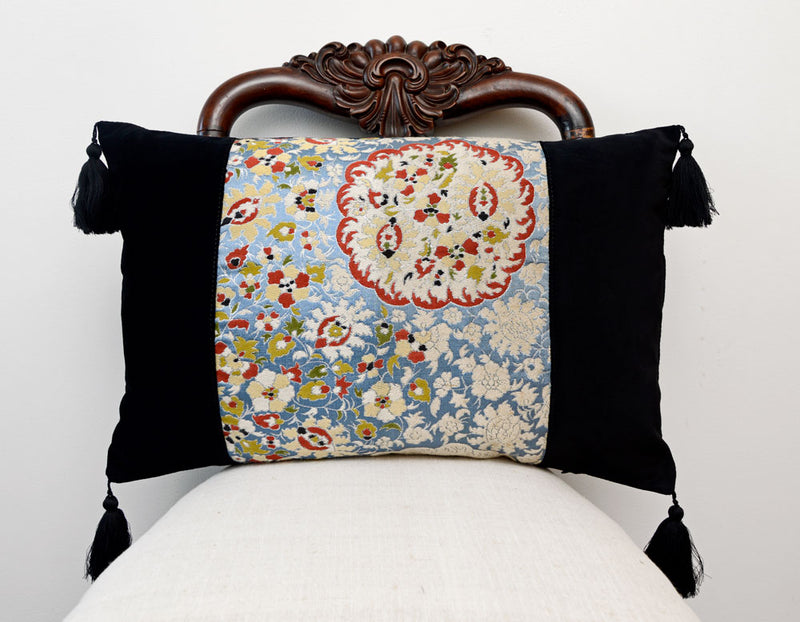 Cushion, Japanese obi, silk pillow, vintage, velvet cushion, decorative pillow, floral design
