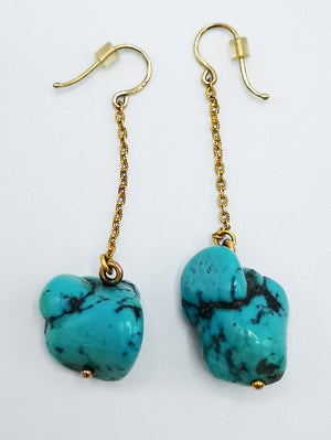 Huge, turquoise and gold earrings. Gorgeous quality.
