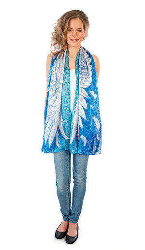 Wings of an Angel pure silk-satin scarf/wrap. Blue version. - Baba Store - 2