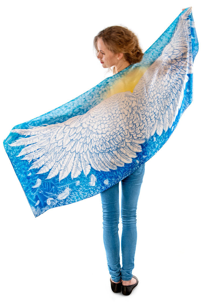 Wings of an Angel, blue version, soft viscose scarf/wrap. - Baba Store - 3