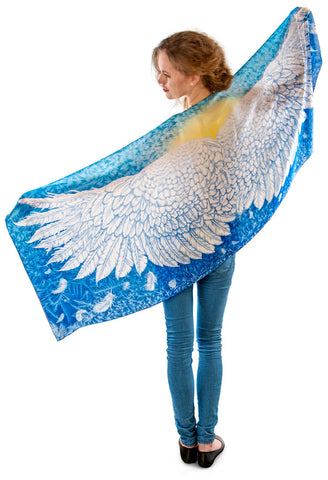 Wings of an Angel pure silk-satin scarf/wrap. Blue version.