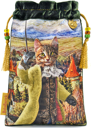 塔罗牌袋,塔罗牌袋,虎斑猫,塔罗牌,猫,tarot bag, tarot pouch, tabby cat, tarot cards, dressed cat, louis wain
