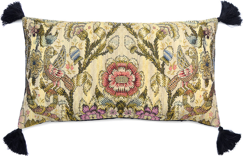 Bird Brocade -  cushion with antique silk/cotton brocade