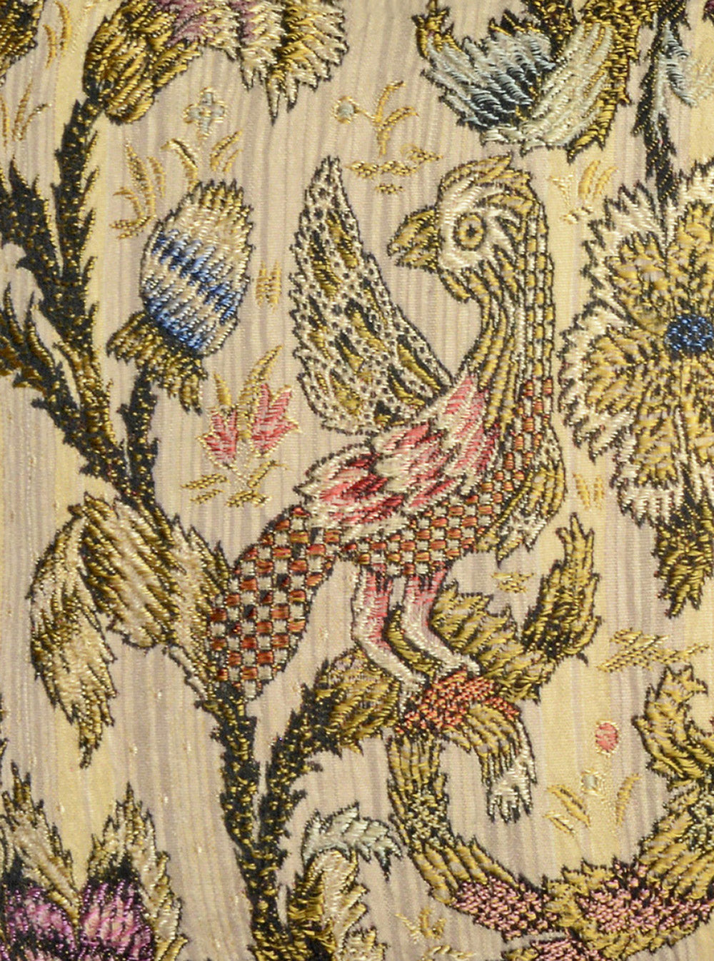 antique fabric, bird fabric, parrots, silk brocade, silk, pillow, velvet