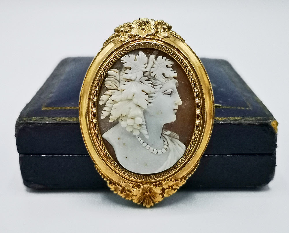 Exquisite, large 19th century shell Bacchante cameo brooch in rose gold.