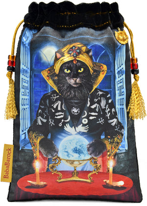 fortune teller, cat, bohemian cat, black cat, crystal ball, tarot bag, pouch, velvet, silk, printed,Wahrsagerin, Katze, Bohemienkatze, schwarze Katze, Kristallkugel, Tarotbeutel, Beutel, Samt, Seide, bedruckt