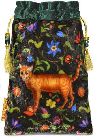 The Ginger Cat bag. Printed on silk velvet. Green velvet version.