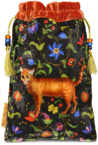 The Ginger Cat tarot bag. Printed on silk velvet. Orange velvet version.