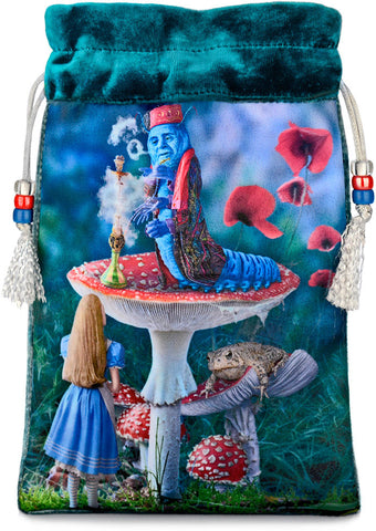 Alice and the Caterpillar — teal silk velvet velvet tarot bag, drawstring pouch by Baba Studio