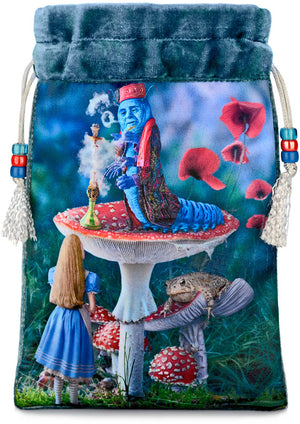 Alice and the Caterpillar— blue teal silk velvet - Baba Store - 1