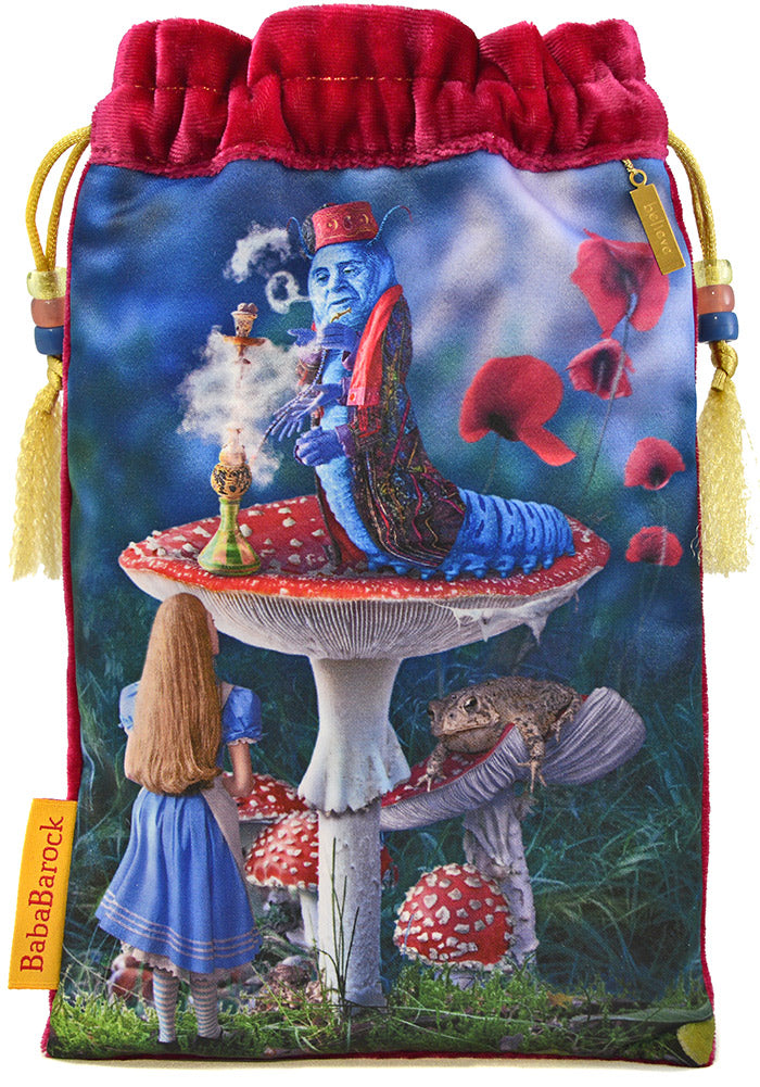 Alice and the Caterpillar - limited edition tarot bag in raspberry pink silk velvet. Printed tarot bag from The Alice Tarot by Baba Studio.
