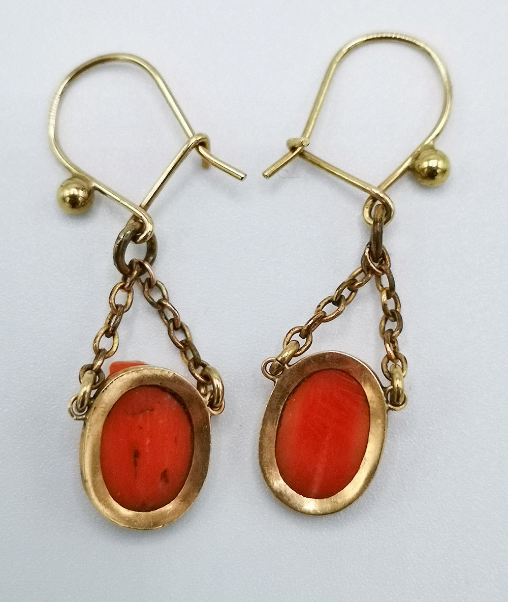 Back of carved coral antique cameo earrings on gold fittings handmade