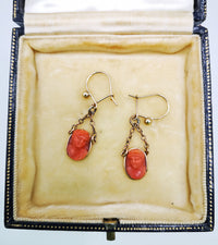 carved sea coral relief antique cameo earrings on gold fittings handmade