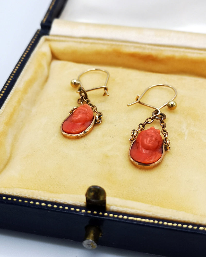 small carved sea coral high-relief antique cameo earrings on gold fittings handmade