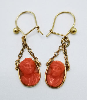 carved coral antique cameo earrings on gold fittings handmade