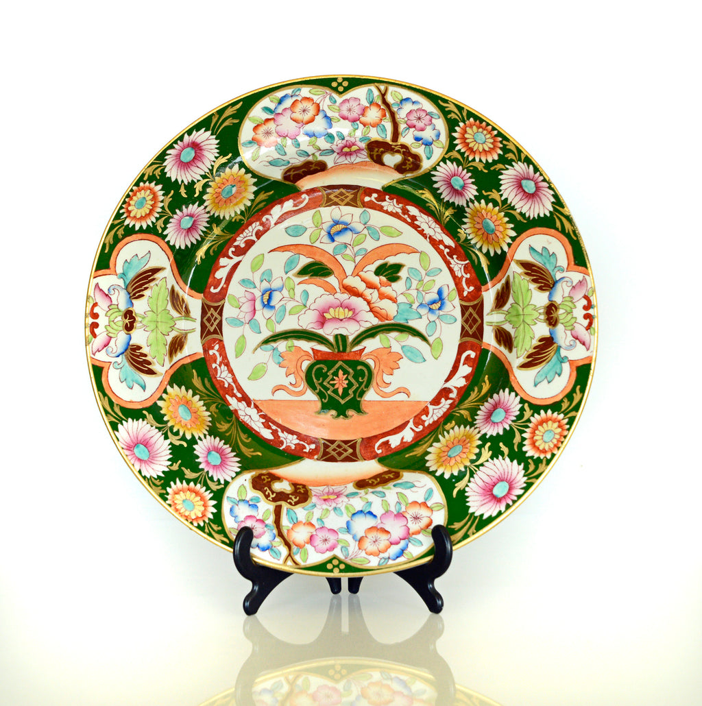 ashworth, masons, china, antique, chinoiserie, ironstone, plate, hand painted