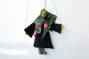 Small vintage witch puppet