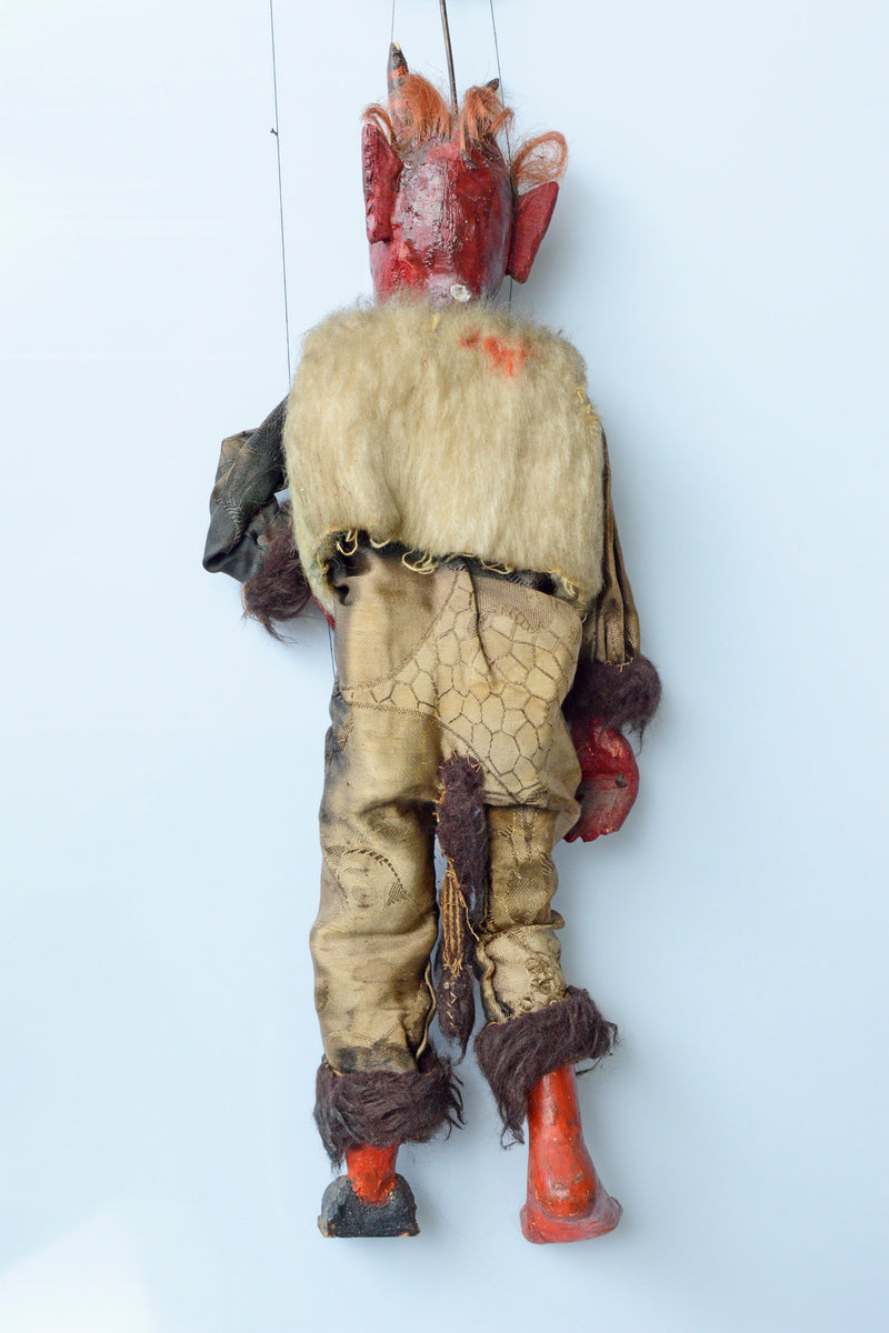 Antique carved Czech devil puppet - lots of character