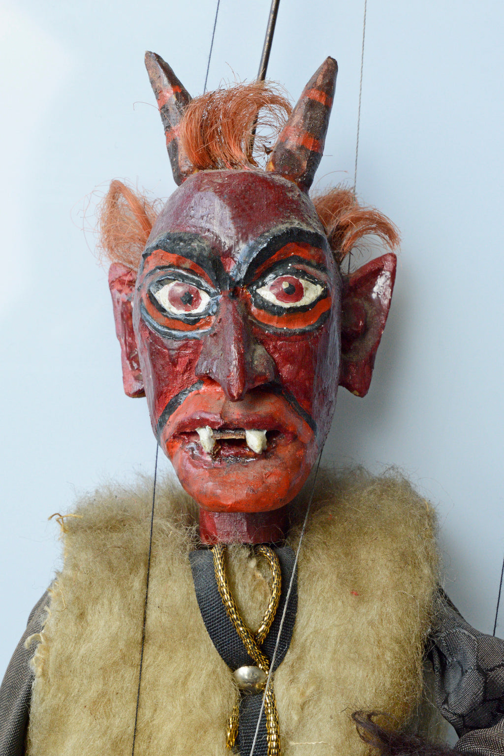 devil, puppet, loutka, marionette, krampus, antique, carved, wood