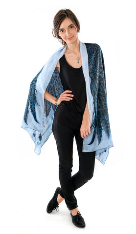 Wings of an Angel, black version, pure silk-satin scarf/wrap.