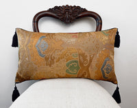 kimono cushion, japanese obi, silk, vintage fabric, gold cushion, pillow, metallics, decorative pillow, tassels