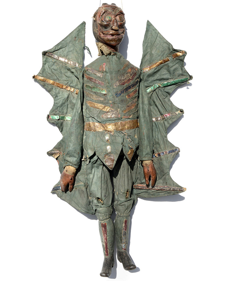 tiller clowes troop, english marionette, carved wood, antique puppet, for sale, devil puppet, devil marionettes