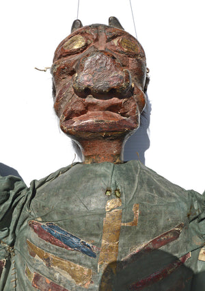 antique marionette, antique devil puppet, carved wood marionette, devil marionette, tiller clowes, english marionette, wooden, carved, victorian
