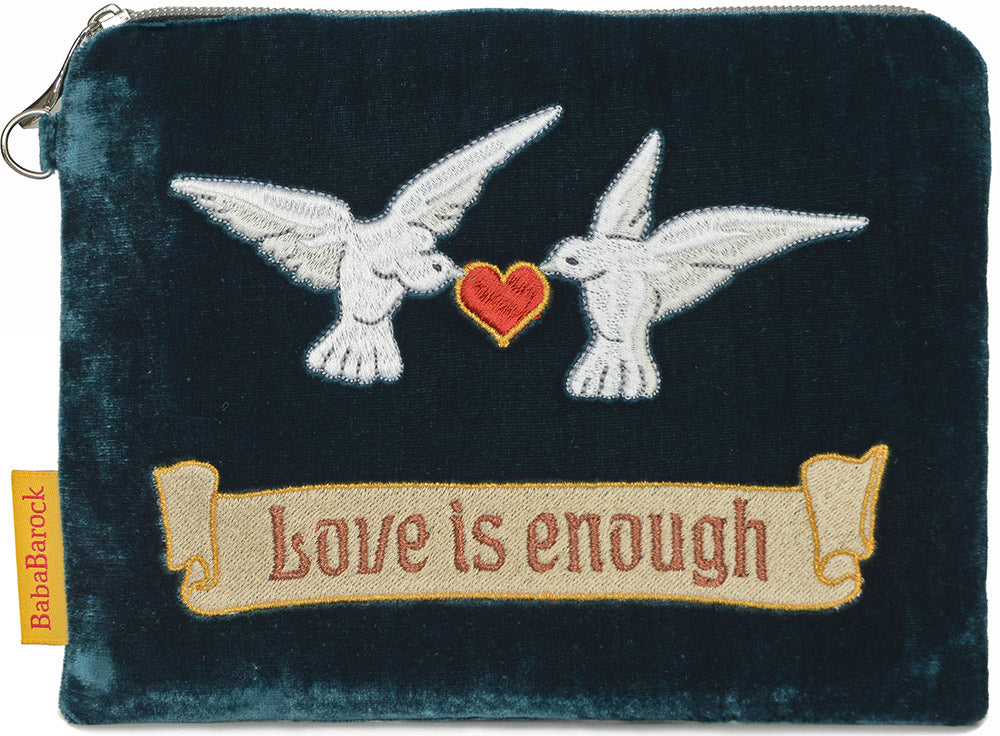 embroidered, arts and crafts design, william morris, love is enough, tarot pouch, doves, valentines, wristlet, silk velvet, doves and hearts, clutch bag