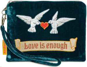 arts and crafts embroidery, william morris, love is enough, tarot bag, doves, valentines day, wristlet, silk velvet, doves and hearts, clutch bag