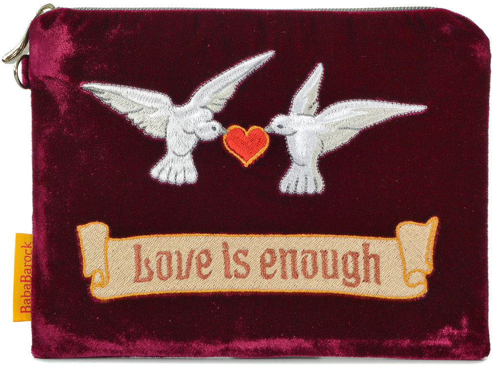 arts and crafts, love is enough, doves, valentines, wristlet, silk velvet, doves and hearts, evening bag
