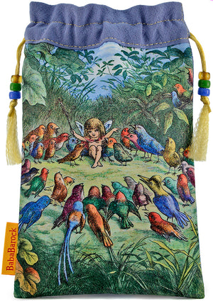 Fairy tale illustration by Richard Doyle, silk tarot bag, drawstring pouch