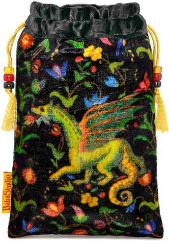 The Dragon bag. Printed on silk velvet. Black velvet version.