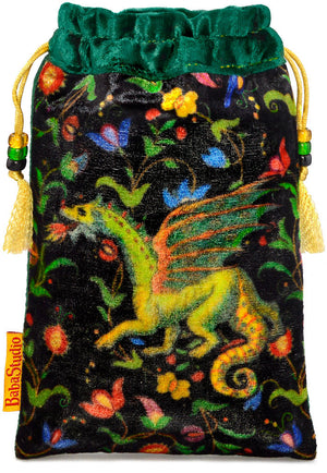 The Dragon bag. Printed on silk velvet. Forest green velvet version. - Baba Store - 1