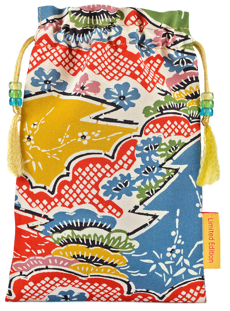 Subtle & Vibrant drawstring tarot bag in Japanese vintage silk